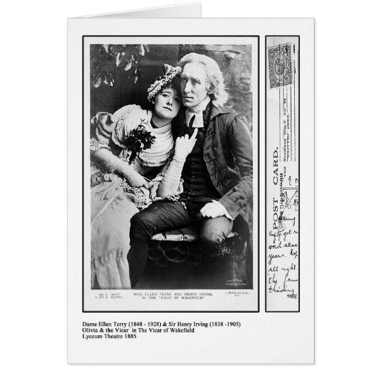 Tarjeta Ellen Terry y Henry Irving en el vicario de