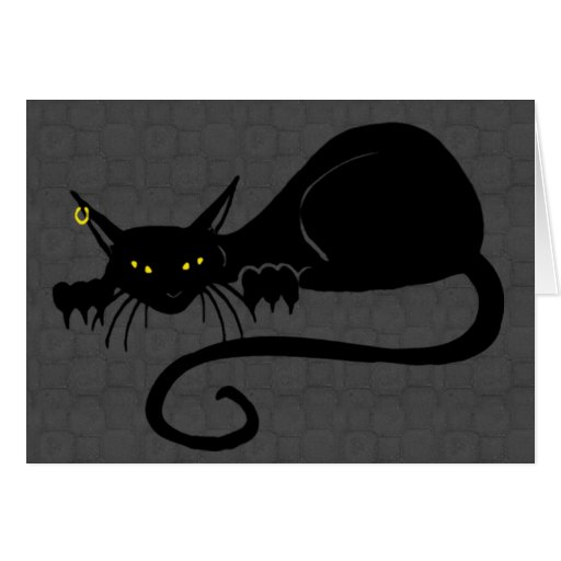 Tarjeta en blanco a solas del gato del ataque