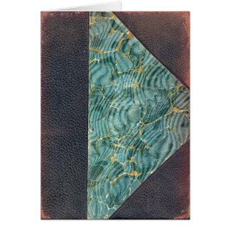 Tarjeta en blanco de cuero antigua de la cubierta