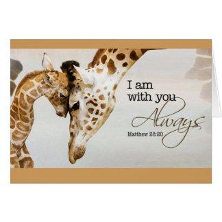 Tarjeta en blanco de la jirafa
