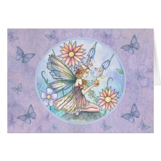 Tarjeta en blanco de la mariposa de hadas por