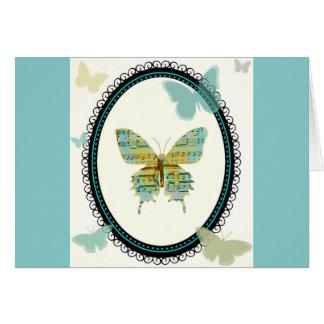 TARJETA EN BLANCO de la mariposa de la partitura