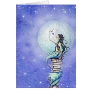 Tarjeta en blanco de la sirena mágica de la noche