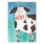 Tarjeta en blanco de la vaca
