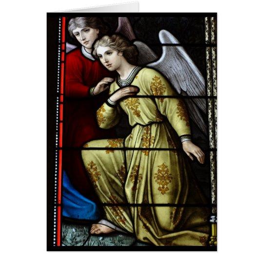 Tarjeta en blanco del ángel del vitral