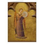 Tarjeta en blanco del ángel medieval gótico