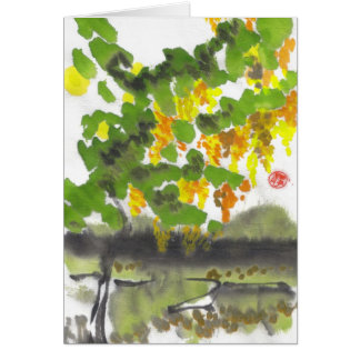 Tarjeta en blanco del árbol del otoño