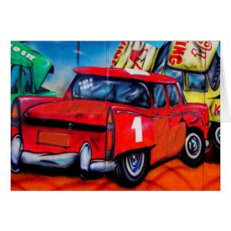 Tarjeta en blanco del coche del arte rojo de la pa