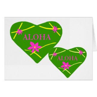 Tarjeta en blanco del corazón de la hawaiana