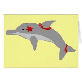 Tarjeta en blanco del delfín de la hawaiana