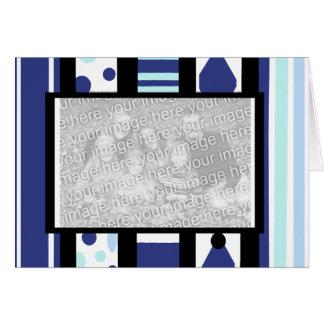 Tarjeta en blanco del marco azul de la dicha