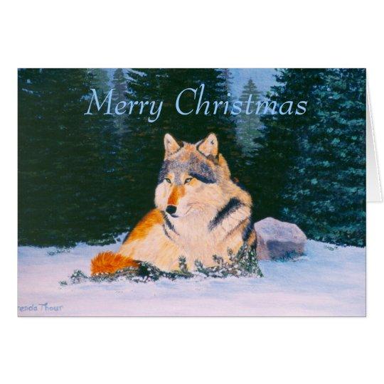 Tarjeta en blanco del navidad del lobo de madera