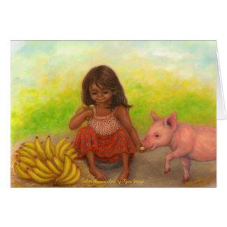 Tarjeta en blanco del pequeño vendedor del plátano