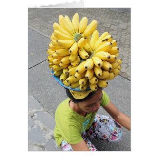 Tarjeta en blanco del plátano