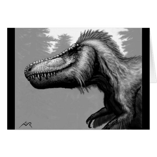 Tarjeta en blanco emplumada del Tyrannosaur