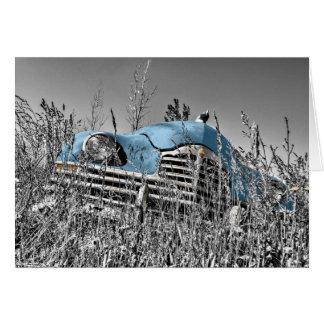 """Tarjeta """"En coche del vintage de las malas hierbas"""" que le"""
