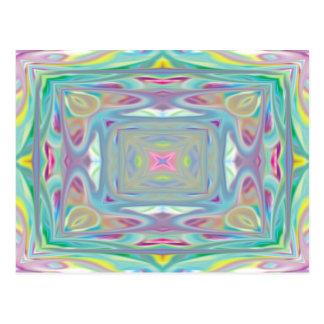 Tarjeta en colores pastel psicodélica postal