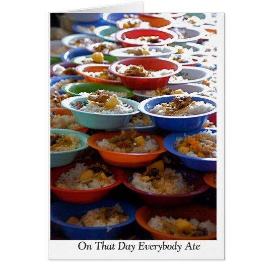 """Tarjeta """"En ese día todos comió """""""