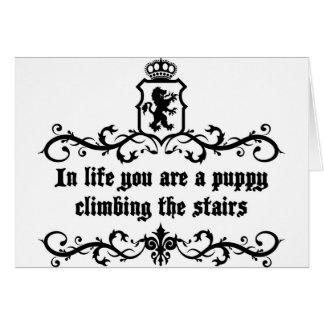 Tarjeta En vida usted es un perrito que sube las escaleras