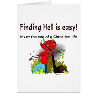 Tarjeta Encontrar infierno es fácil