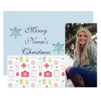 Tarjeta Enfermera de las Felices Navidad
