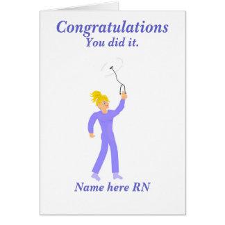 Tarjeta Enfermera registradoa de la graduación de la