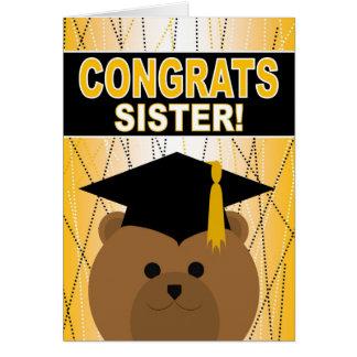 Tarjeta Enhorabuena de la graduación para una hermana