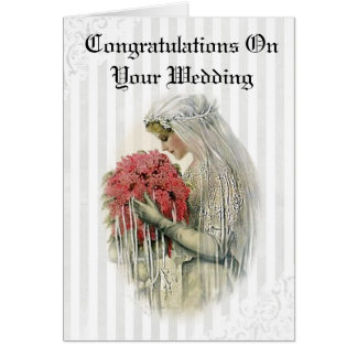 Tarjeta Enhorabuena de la novia del vintage en su boda