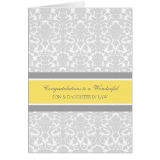 Tarjeta Enhorabuena del boda del hijo y de la nuera gris