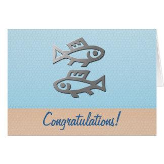 Tarjeta Enhorabuena del cumpleaños de los pescados de