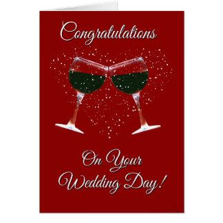 Tarjeta Enhorabuena del vino y del corazón en su boda