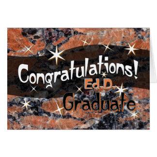 Tarjeta Enhorabuena Ed.D. Graduate Orange y negro