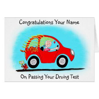 Tarjeta Enhorabuena en el paso de la prueba de conducción