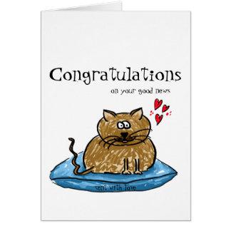 Tarjeta Enhorabuena en su ejemplo del gato de las buenas