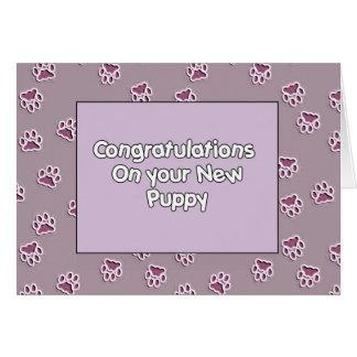Tarjeta Enhorabuena en usted nuevo perrito