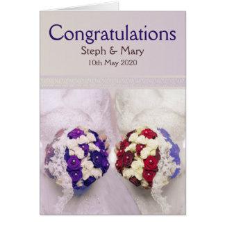 Tarjeta Enhorabuena lesbiana del boda de las novias del