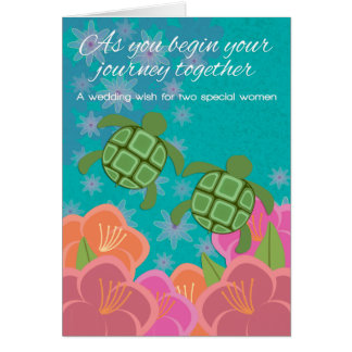 Tarjeta Enhorabuena lesbiana del boda de las tortugas de