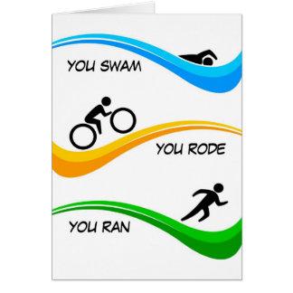 Tarjeta ¡Enhorabuena para acabar un Triathlon!
