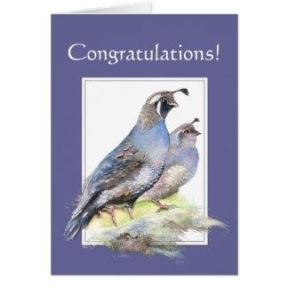 Tarjeta Enhorabuena para los pájaros de las codornices de
