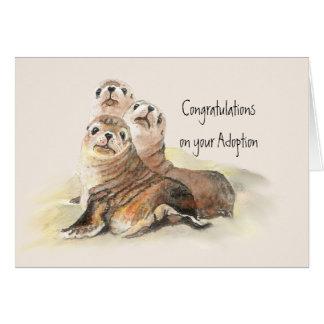 Tarjeta Enhorabuena sus sellos lindos de la adopción