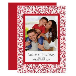 Tarjeta enmarcada rojo moderno del día de fiesta invitación 12,7 x 17,8 cm