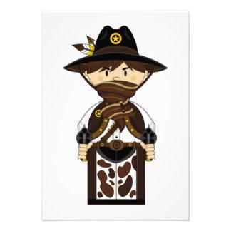 Tarjeta enmascarada de RSVP del sheriff del vaquer Anuncio Personalizado