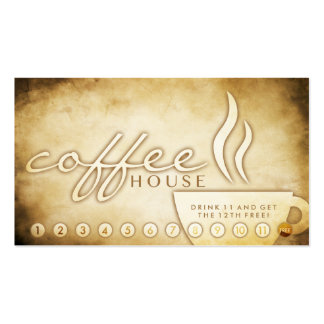 tarjeta envejecida de la lealtad del café tarjetas de visita