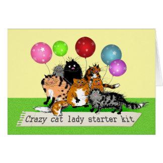 Tarjeta Equipo loco del arrancador de la señora del gato.