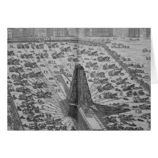 Tarjeta Erección del obelisco egipcio antiguo