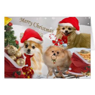 Tarjeta Escena card2 de la nieve del navidad de Pomeranian