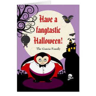 Tarjeta Escena de Drácula del vampiro de Halloween del