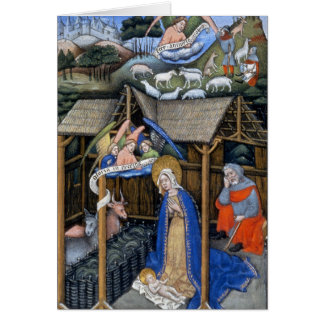 Tarjeta Escena de la natividad de un evangelio iluminado