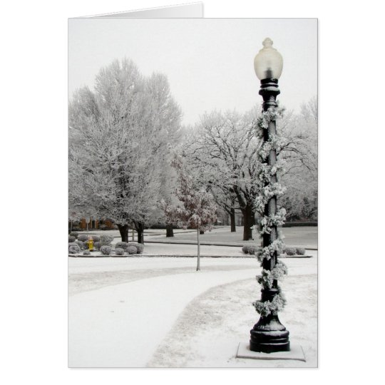 Tarjeta Escena del invierno de poste ligero