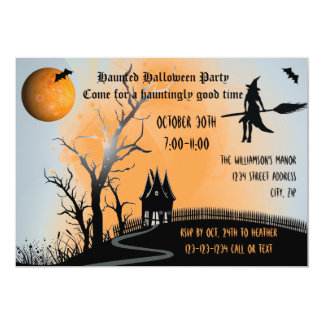 Tarjeta Escena frecuentada - el fiesta de Halloween invita